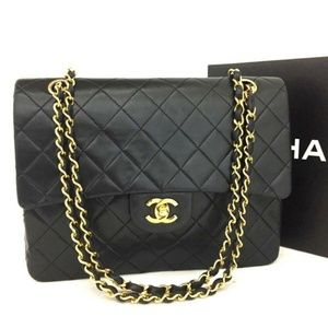 💯 Auth CHANEL Double Flap 25 Quilted Lambskin Bag